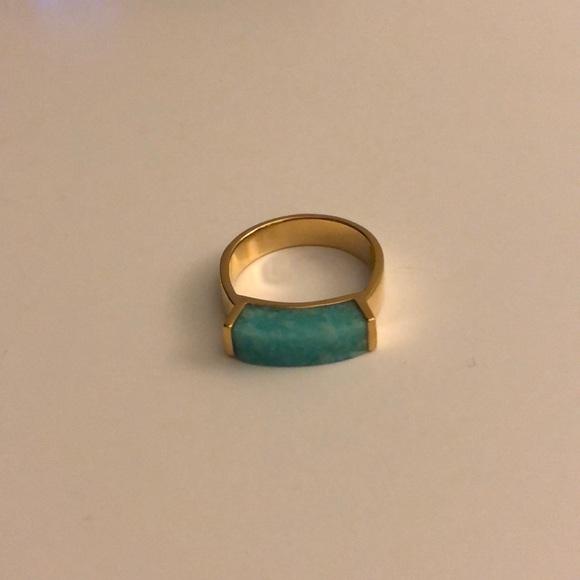 1a59fb5716097f MONICA VINADER Jewelry | Gold Vermeil Linear Ring Amazonite | Poshmark